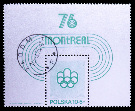 MOSCOW, RUSSIA - SEPTEMBER 26, 2018: A stamp printed in Poland shows Olympic Games 1976 - Montreal, serie, circa 1975