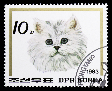 MOSCOW, RUSSIA - SEPTEMBER 26, 2018: A stamp printed in Korea shows Domestic Cat, Cats serie, circa 1983