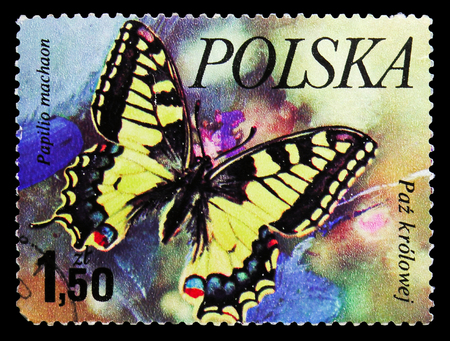 MOSCOW, RUSSIA - SEPTEMBER 15, 2018: A stamp printed in Poland shows Swallowtail (Papilio machaon), Butterflies serie, circa 1977