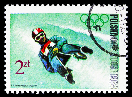 MOSCOW, RUSSIA - SEPTEMBER 15, 2018: A stamp printed in Poland shows Luge, Olympic Games 1968 - Grenoble serie, circa 1968