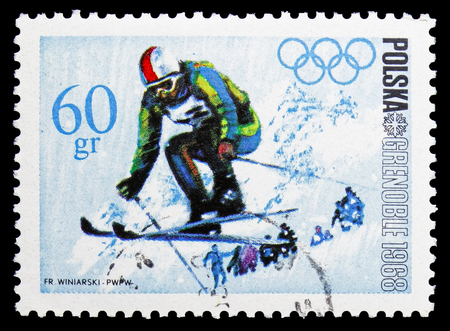 MOSCOW, RUSSIA - SEPTEMBER 15, 2018: A stamp printed in Poland shows Skiing, Olympic Games 1968 - Grenoble serie, circa 1968