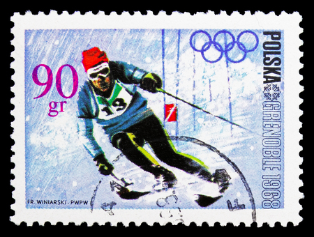 MOSCOW, RUSSIA - SEPTEMBER 15, 2018: A stamp printed in Poland shows Slalom, Olympic Games 1968 - Grenoble serie, circa 1968