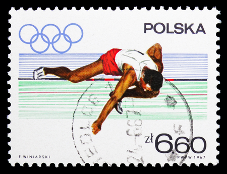 MOSCOW, RUSSIA - SEPTEMBER 15, 2018: A stamp printed in Poland shows Higth jump, Olympic appeal serie, circa 1967