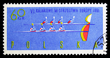 MOSCOW, RUSSIA - SEPTEMBER 15, 2018: A stamp printed in Poland shows Four-man canoes at finish line and B, 6th European Canoe Championships serie, circa 1961
