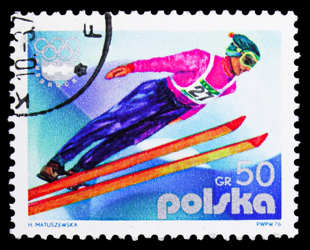 MOSCOW, RUSSIA - SEPTEMBER 15, 2018: A stamp printed in Poland shows Ski Jump, Olympic Games 1976 - Innsbruck serie, circa 1976