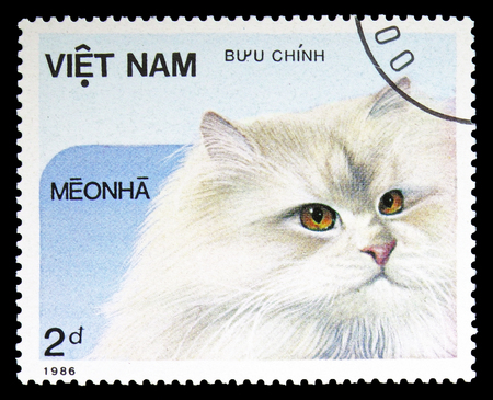 MOSCOW, RUSSIA - SEPTEMBER 26, 2018: A stamp printed in Vietnam shows , Domestic Cats serie, circa 1986