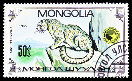 MOSCOW, RUSSIA - SEPTEMBER 26, 2018: A stamp printed in Mongolia shows Snow Leopard (Panthera Uncia), Panthera Uncias serie, circa 1985 Editorial