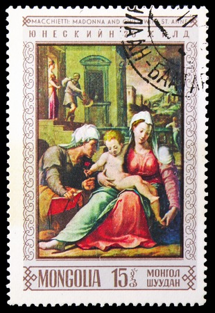 MOSCOW, RUSSIA - NOVEMBER 26, 2018: A stamp printed in Mongolia shows Macchietti: Madonna and child, Paintings UNESCO serie, circa 1968