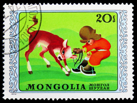MOSCOW, RUSSIA - NOVEMBER 26, 2018: A stamp printed in Mongolia shows Child and calf, International Childrens Day serie, circa 1974 Editöryel