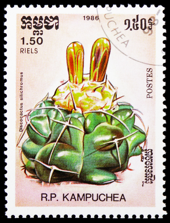 MOSCOW, RUSSIA - JANUARY 4, 2019: A stamp printed in Kampuchea (Cambodia) shows Discocactus silichromus, Cactuses serie, circa 1986 Редакционное