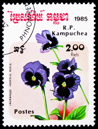 MOSCOW, RUSSIA - JANUARY 4, 2019: A stamp printed in Kampuchea (Cambodia) shows Viola Tricolor Ullswater, Flowers serie, circa 1985 Editorial