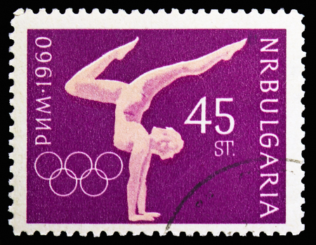 MOSCOW, RUSSIA - NOVEMBER 10, 2018: A stamp printed in Bulgaria shows Olympic Summer Games Roma, Summer Olympic Games, Gymnastics, Rome serie, circa 1960