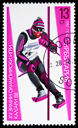 MOSCOW, RUSSIA - NOVEMBER 10, 2018: A stamp printed in Bulgaria shows Slalom, Olympic Games 1988 - Calgary serie, circa 1987