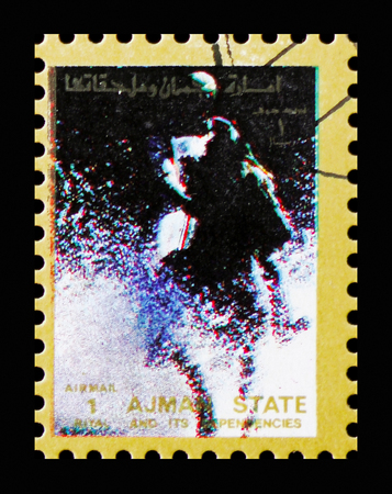 MOSCOW, RUSSIA - NOVEMBER 10, 2018: A stamp printed in Ajman shows Horse racing, Summer Olympics serie, circa 1973 Stock Photo - 117050907