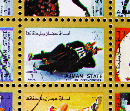 MOSCOW, RUSSIA - NOVEMBER 10, 2018: A stamp printed in Ajman shows Luge, Winter Olympics serie, circa 1973 Stock Photo - 117050914