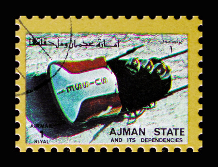 MOSCOW, RUSSIA - NOVEMBER 10, 2018: A stamp printed in Ajman shows Bobsleigh, Winter Olympics serie, circa 1973 Stock Photo - 117056225