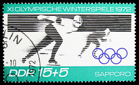 MOSCOW, RUSSIA - NOVEMBER 10, 2018: A stamp printed in Germany, Democratic Republic shows Speed skating, Winter Olympics 1972, Sapporo serie, circa 1971