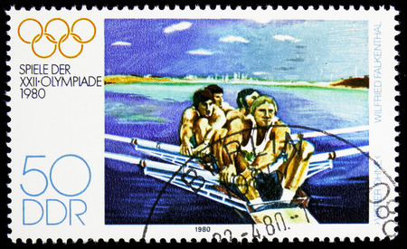MOSCOW, RUSSIA - NOVEMBER 10, 2018: A stamp printed in Germany, Democratic Republic shows Quadruple sculls (W. Falkenthal), Summer Olympics 1980, Moscow serie, circa 1980