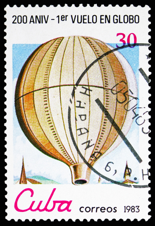 MOSCOW, RUSSIA - NOVEMBER 10, 2018: A stamp printed in Cuba shows 1st public flight of non-manned Montgolfier, 1783, Bicentenary of Aeronautics serie, circa 1983