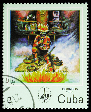 MOSCOW, RUSSIA - NOVEMBER 10, 2018: A stamp printed in Cuba shows ESPAMER 85, Witch-doctor, Philatelic Exhibitions serie, circa 1985
