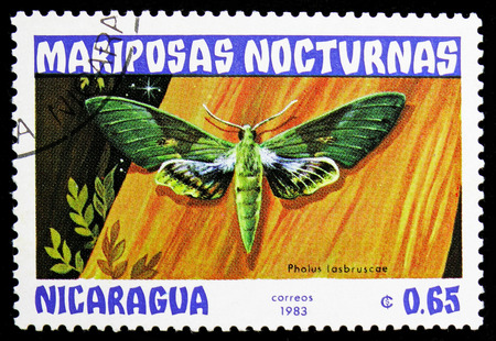 MOSCOW, RUSSIA - NOVEMBER 10, 2018: A stamp printed in Nicaragua shows Gaudy Shinnx (Pholus lasbruscae), Butterflies serie, circa 1983