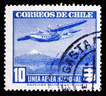 MOSCOW, RUSSIA - NOVEMBER 10, 2018: A stamp printed in shows Chile, Air Mail Type 1941 blue serie, circa 1942