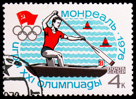 MOSCOW, RUSSIA - NOVEMBER 10, 2018: A stamp printed in USSR (Russia) shows Canoeing, Olympic Games - Montreal serie, circa 1976