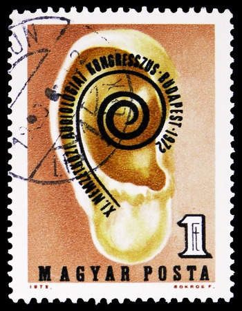 MOSCOW, RUSSIA - FEBRUARY 9, 2019: A stamp printed in Hungary devoted to 11th International Audiology Congress, Budapest , serie, circa 1972