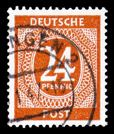 MOSCOW, RUSSIA - FEBRUARY 9, 2019: A stamp printed in Germany, Allied Occupation 1945-1949, shows Postage due, American and British Zone serie, circa 1948