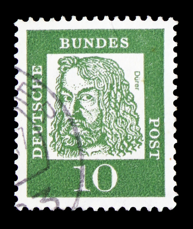 MOSCOW, RUSSIA - FEBRUARY 9, 2019: A stamp printed in Germany, Federal Republic, shows Albrecht Durer (1471-1528), painter and graphic artist, Famous Germans serie, circa 1961