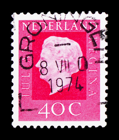 MOSCOW, RUSSIA - FEBRUARY 9, 2019: A stamp printed in Netherlands shows Queen Juliana (1909-2004), Queen Juliana - Type Regina serie, circa 1972 Editorial
