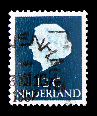 MOSCOW, RUSSIA - FEBRUARY 9, 2019: A stamp printed in Netherlands shows Queen Juliana (1909-2004), Queen Juliana - Type En Profile serie, circa 1967