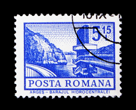 MOSCOW, RUSSIA - FEBRUARY 9, 2019: A stamp printed in Romania shows Arges - Hydroelectric Dam, Definitives - Buildings serie, circa 1972