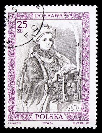 MOSCOW, RUSSIA - FEBRUARY 9, 2019: A stamp printed in Poland shows Dobrawa, Portraits of Polish Rulers serie, circa 1986
