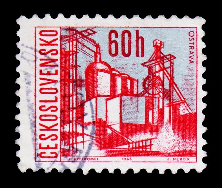 MOSCOW, RUSSIA - FEBRUARY 9, 2019: A stamp printed in Czechoslovakia shows Ostrava, Czechoslovak cities serie, circa 1966