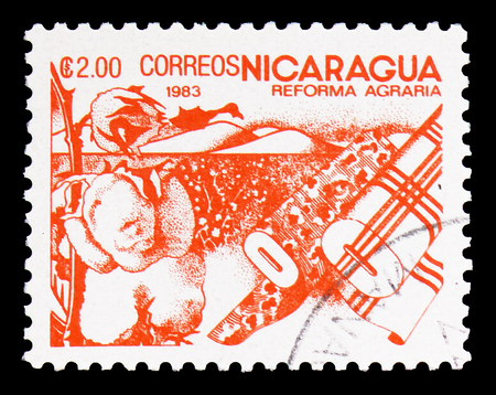 MOSCOW, RUSSIA - FEBRUARY 9, 2019: A stamp printed in Nicaragua shows Cotton, Agrarian Reform serie, circa 1983
