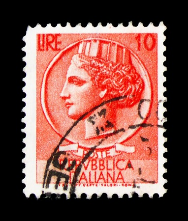 MOSCOW, RUSSIA - FEBRUARY 9, 2019: A stamp printed in Italy shows Coin of Syracuse, serie, circa 1953