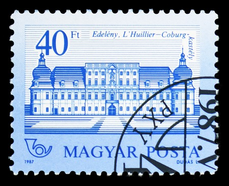 MOSCOW, RUSSIA - FEBRUARY 9, 2019: A stamp printed in Hungary shows Veste Coburg Castle, Edeleny, Castles serie, circa 1987 Editorial