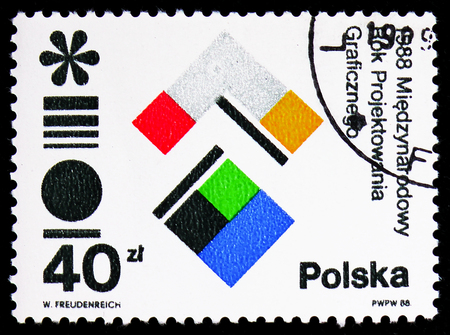 MOSCOW, RUSSIA - FEBRUARY 9, 2019: A stamp printed in Poland devoted to International Year of Graphic Design, circa 1988
