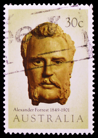 MOSCOW, RUSSIA - FEBRUARY 9, 2019: A stamp printed in Australia shows Explorers - Alexander Forrest, serie, circa 1983 Editorial