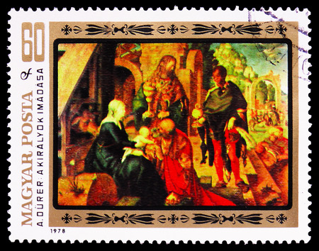 MOSCOW, RUSSIA - FEBRUARY 9, 2019: A stamp printed in Hungary shows Adoration of the Magi, 450th Death Anniversary of Dürer serie, circa 1979