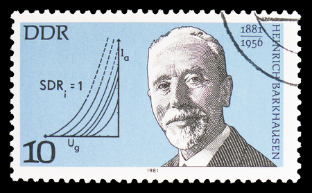 MOSCOW, RUSSIA - FEBRUARY 10, 2019: A stamp printed in Germany, Democratic Republic, shows Heinrich Barkhausen, Physicist, Famous Personalities serie, circa 1981 Editorial