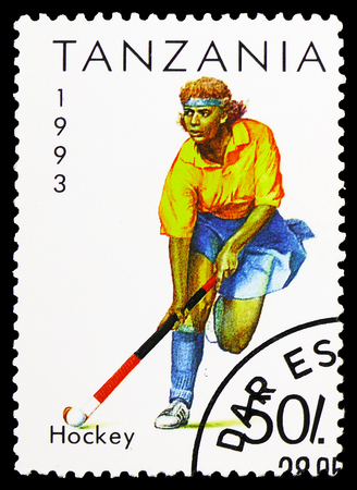 MOSCOW, RUSSIA - FEBRUARY 10, 2019: A stamp printed in Tanzania shows Hockey, Sport serie, circa 1993