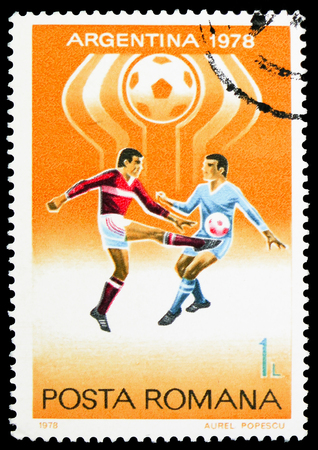 MOSCOW, RUSSIA - FEBRUARY 10, 2019: A stamp printed in Romania shows Football World Cup 1978, Argentina, serie, circa 1978 Sajtókép