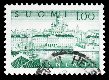 MOSCOW, RUSSIA - FEBRUARY 10, 2019: A stamp printed in Finland shows Helsinki Harbour, serie, circa 1963