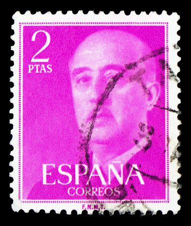 MOSCOW, RUSSIA - FEBRUARY 10, 2019: A stamp printed in Spain shows General Franco, serie, circa 1956