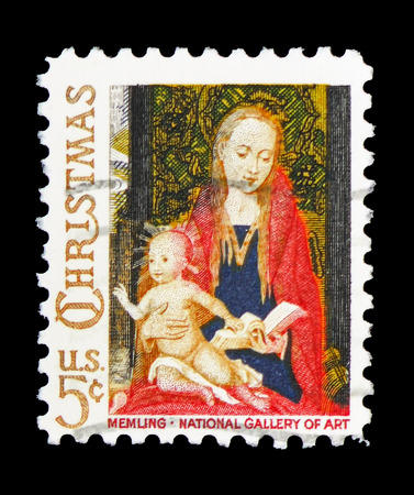 MOSCOW, RUSSIA - FEBRUARY 10, 2019: A stamp printed in United States shows Madonna and Child by Hans Memling, Christmas 1966 serie, circa 1966