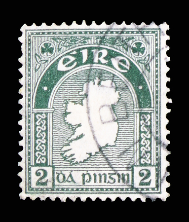 MOSCOW, RUSSIA - FEBRUARY 10, 2019: A stamp printed in Ireland shows Map, Symbols 1922-34 serie, circa 1934 Editorial
