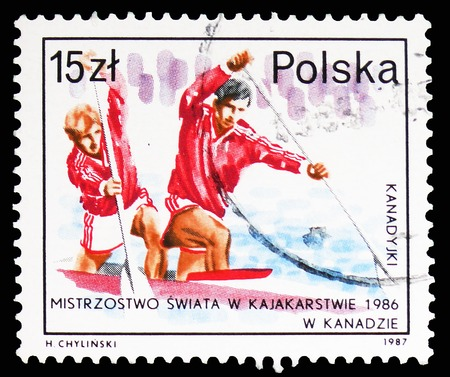 MOSCOW, RUSSIA - FEBRUARY 10, 2019: A stamp printed in Poland shows Doubles Canoeing, Success of Polish Athletes serie, circa 1987 Stok Fotoğraf - 120302859