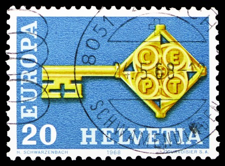 MOSCOW, RUSSIA - FEBRUARY 10, 2019: A stamp printed in Switzerland shows Key with CEPT badge, serie, circa 1968